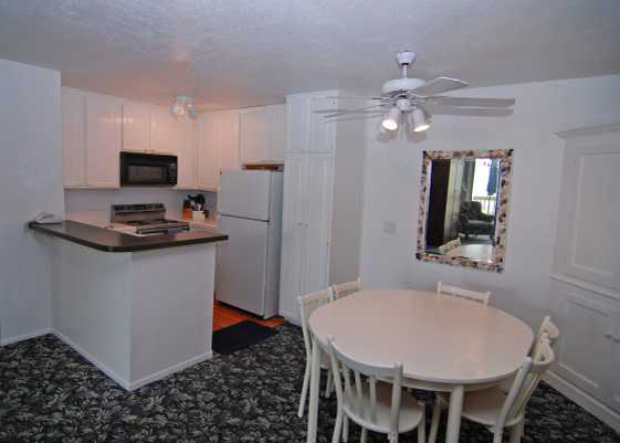 Two bedroom ocean view corner condo's kitchen, Franks Beach Condos, Oceanside CA.